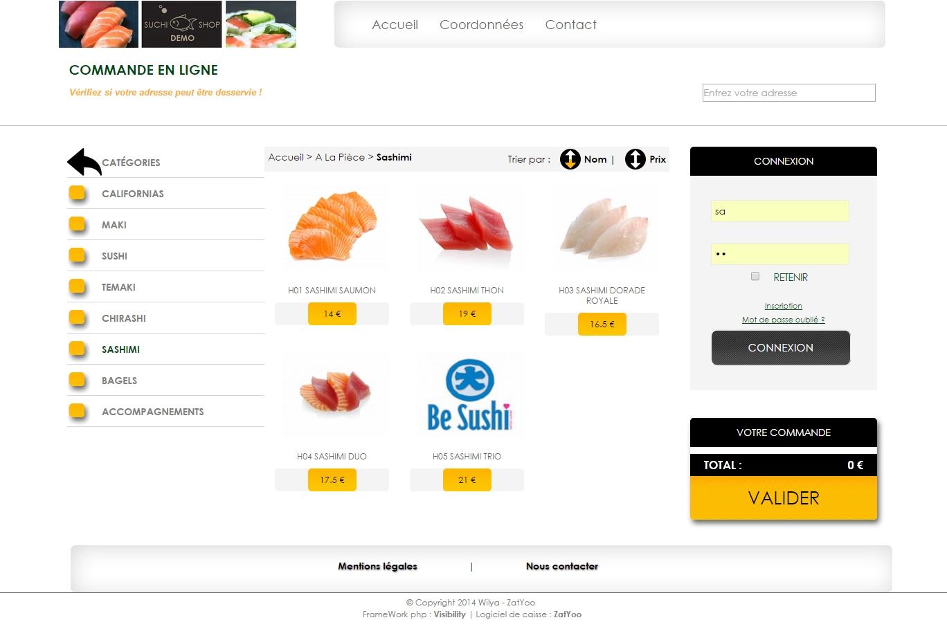 WebShop prise de commande en ligne restaurant